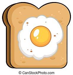 Cartoon Toast Bread Slice With Egg