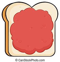Cartoon Toast Bread Slice With Jam