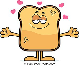 Cartoon Toast Hug - A cartoon illustration of a piece of ...