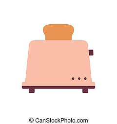 cartoon toaster isolated on white, vector illustration