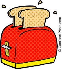 cartoon toaster toasting bread