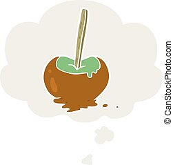 cartoon toffee apple and thought bubble in retro style