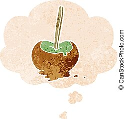 cartoon toffee apple and thought bubble in retro textured style