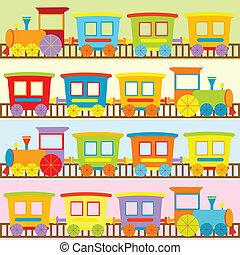 cartoon, tog, baggrunde, by, børn