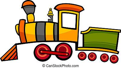 cartoon, tog, eller, lokomotiv