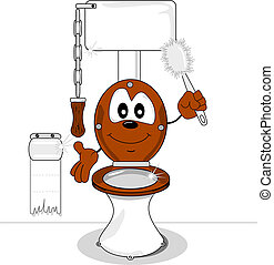 A cartoon toilet holding a toilet brush and smiling