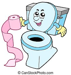 Cartoon toilet on white background - isolated illustration.