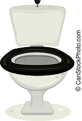 Illustration of a cartoon open water closet for your convenience with flush