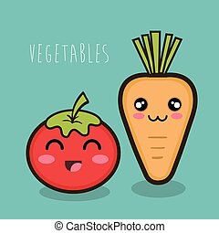cartoon tomato and carrot vegetables design isolated