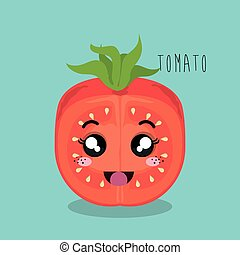 cartoon tomato sliced vegetables design isolated