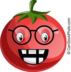 Cartoon tomato wearing glasses illustration vector on white background