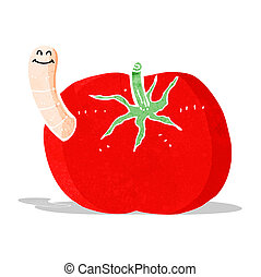cartoon tomato with worm