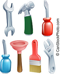 Cartoon tools icons set