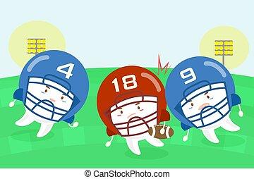 cartoon tooth american football players