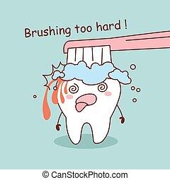 cartoon tooth brushing too hard
