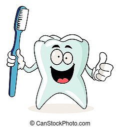 Cartoon Tooth - Cartoon illustration of a tooth holding a ...
