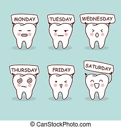 cartoon tooth expression with week, great for health dental ...