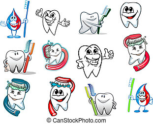 Cartoon tooth hygiene set with toothbrush and dental paste....