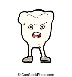 cartoon tooth looking afraid