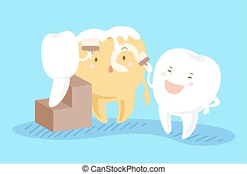 teeth whitening concept - cartoon tooth painting his friend...