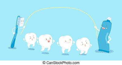 cartoon tooth play happily
