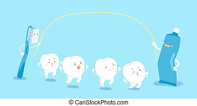 cartoon tooth play happily