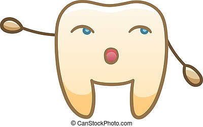 Cartoon tooth pointing to something for International Dentist Day