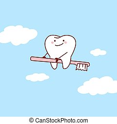 tooth riding toothbrush into sky - cartoon tooth riding ...