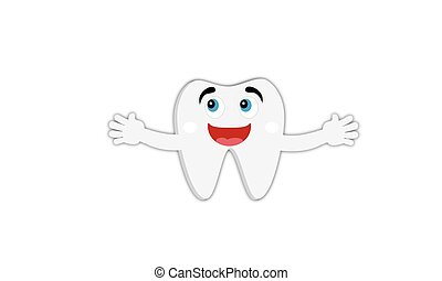 Cartoon tooth smiling and happy