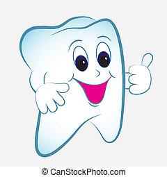 Cartoon tooth vector with thumb