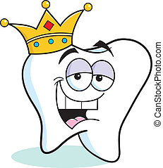Cartoon tooth wearing a crown