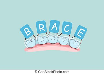 cartoon tooth with brace holding billboards , great for dental care and brace concept