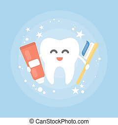 Cartoon tooth with brush.