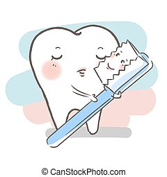 cartoon tooth with brush