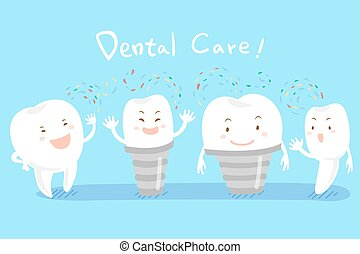 cartoon tooth with dental care - cute happy cartoon tooth...