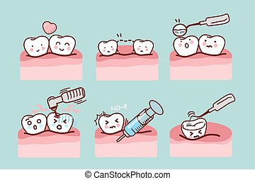 Cartoon Tooth With Dental Equipment