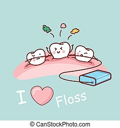 cartoon tooth with dental floss, great for health dental...