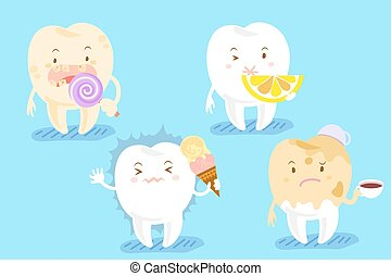 cartoon tooth with different problems