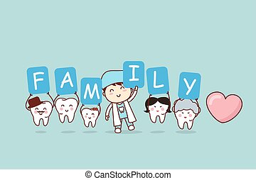 cartoon tooth with family holding billboards , great for dental care concept