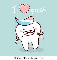 cartoon tooth with floss
