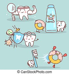 cartoon tooth with health concept