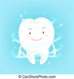 cartoon tooth with health concept - cute cartoon white tooth...