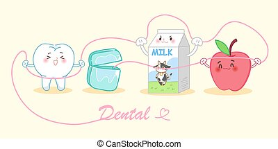 cartoon tooth with milk