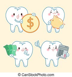 cartoon tooth with money