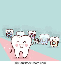 cartoon tooth with paparazzi,great for health dental care...