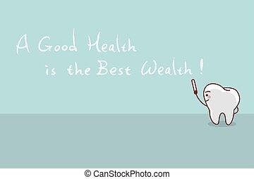 cartoon tooth with slogan