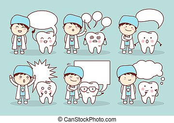 cartoon tooth with speech bubble