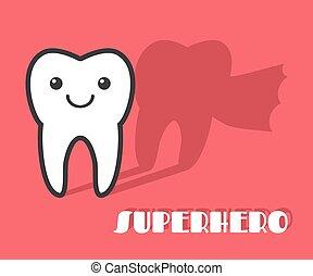 Cartoon tooth with superhero shadow.