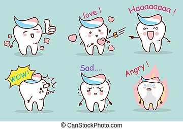 tooth with toothpaste emotion set
