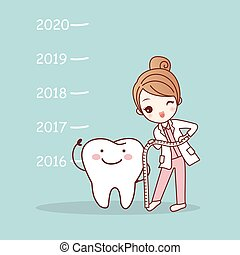 cartoon tooth with woman dentist